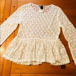 Lace long sleeved blouse, NWT